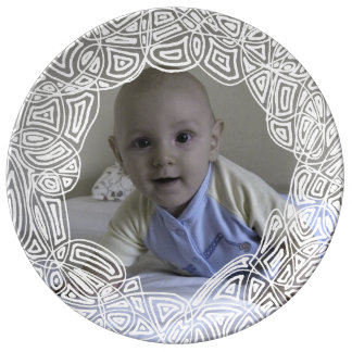 Scribble Circle Photo Dinner Plate