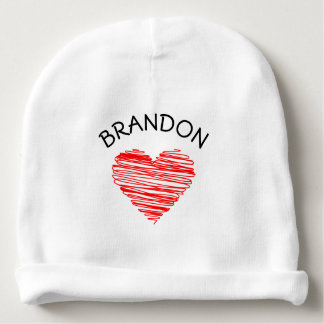 Scribble Heart and Custom Name A02 RED Baby Beanie