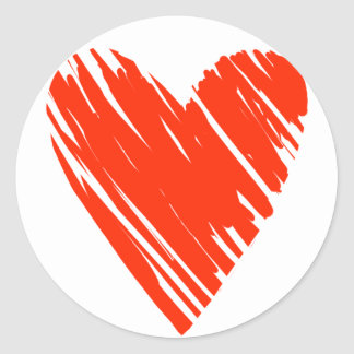 Scribble Heart Classic Round Sticker