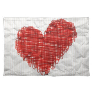 Scribble Heart Cloth Placemat