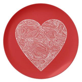 Scribble Heart Melamine Plate