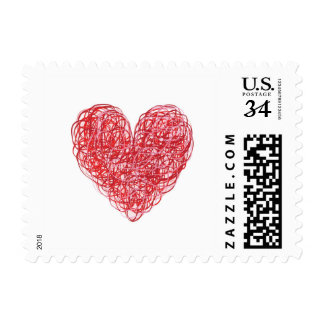 Scribble Heart Postage Stamp