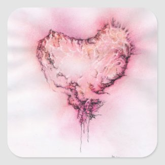 Scribble Heart - square sticker
