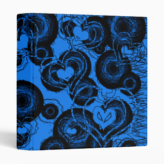 Scribble Hearts Binder Blue