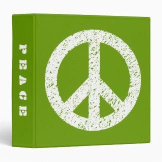 Scribble Stencilled Peace (1.5in) - White on Avoca 3 Ring Binder