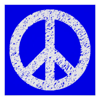 Scribble Stencilled Peace Symbol - White on Blue Poster