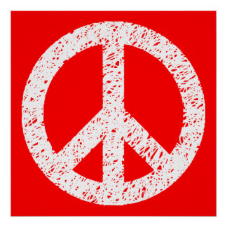 Scribble Stencilled Peace Symbol - White on Red Poster