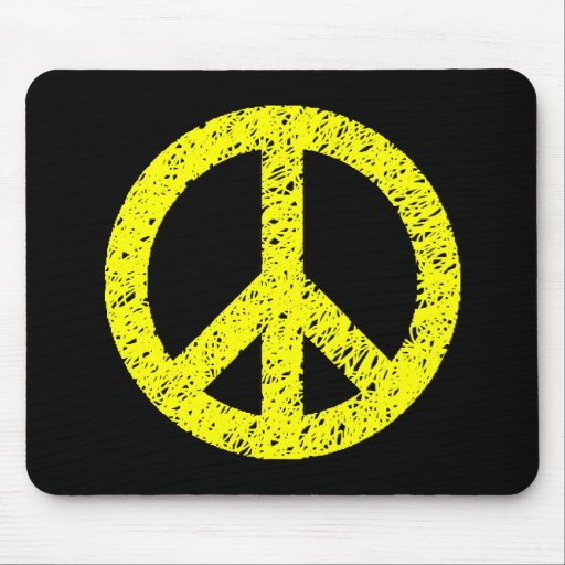 Scribble Stencilled Peace Symbol - Yellow on Black Mouse Pad