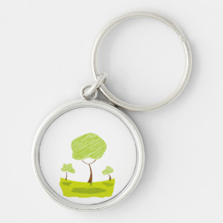 scribble tree landscape yellow eco design.png keychain