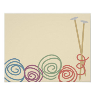 Scribble yarn knitting needles poster