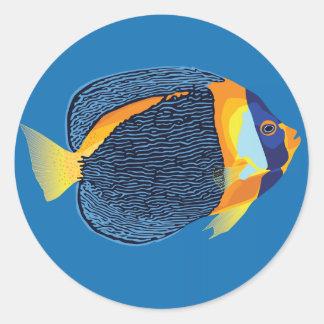 Scribbled angelfish classic round sticker