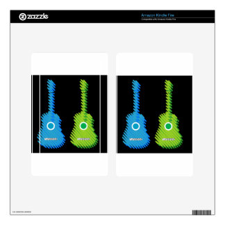 Scribbled artistic Guitars Kindle Fire Skin