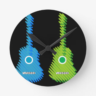 Scribbled artistic Guitars Round Clock