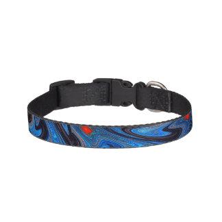 Scribbled Blue Fractal Dog Collar