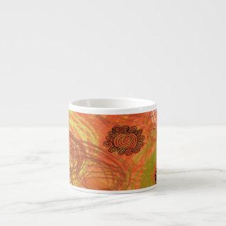 Scribbled Circles 6 Oz Ceramic Espresso Cup