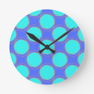Scribbled Colorful Polka Dot Seamless Pattern Round Clock