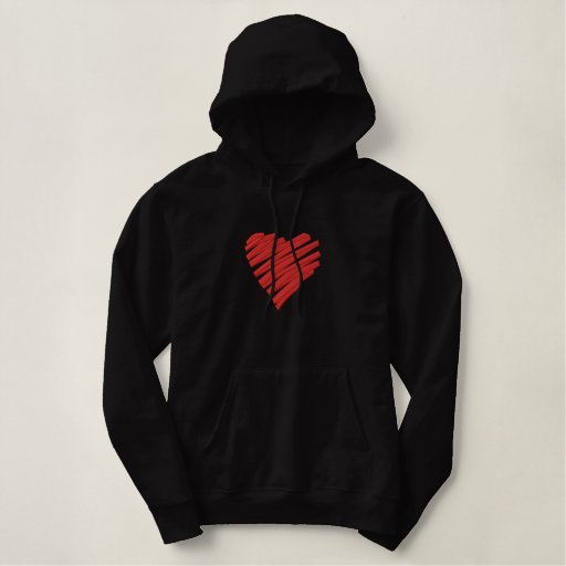 Scribbled Embroidered Heart Embroidered Hoodie