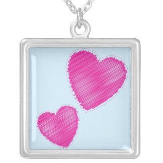 Scribbled hearts silver plated necklace