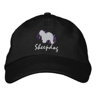 Scribbled Old English Sheepdog Embroidered Baseball Hat