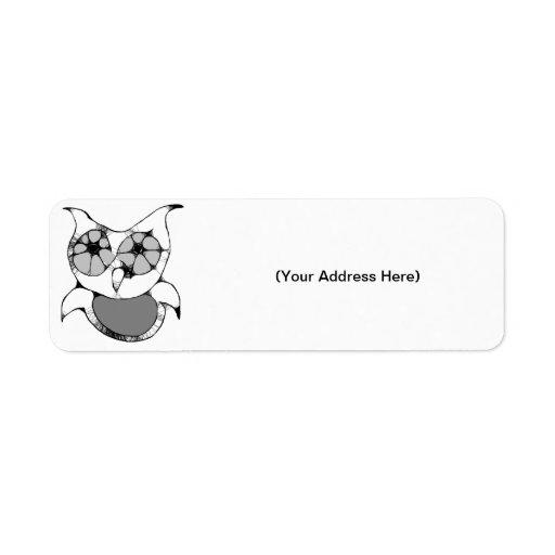 Scribbled Owl Return Address Labels