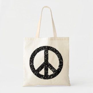Scribbled Peace Symbol - Black Tote Bag