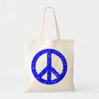 Scribbled Peace Symbol - Blue Tote Bag