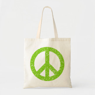 Scribbled Peace Symbol - Martian Green Tote Bag