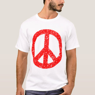 Scribbled Peace Symbol - Red T-Shirt