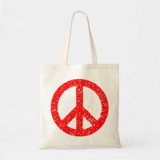 Scribbled Peace Symbol - Red Tote Bag