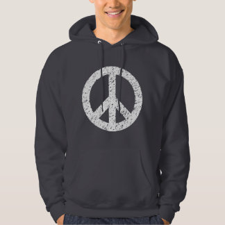 Scribbled Peace Symbol - White Hoodie