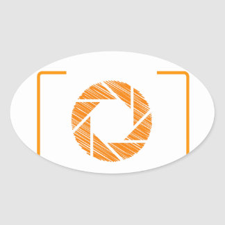 Scribbled photography aperture oval sticker