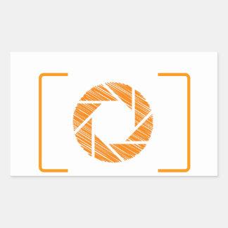Scribbled photography aperture rectangular sticker
