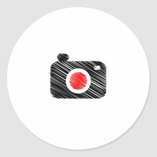 Scribbled photography camera classic round sticker