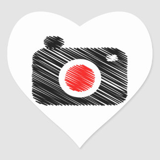 Scribbled photography camera heart sticker