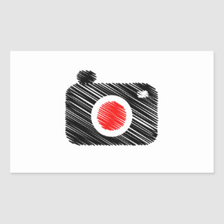 Scribbled photography camera rectangular sticker