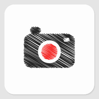 Scribbled photography camera square sticker