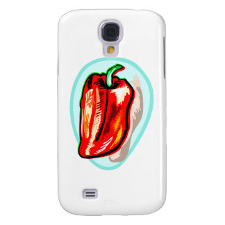 Scribbled red pepper on blue circle galaxy s4 case