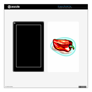 Scribbled red pepper on blue circle kindle fire skins