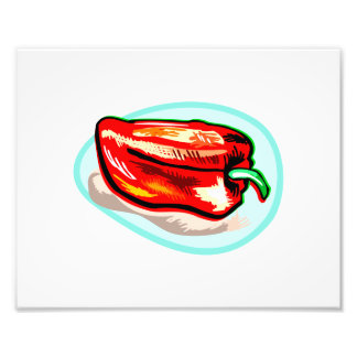 Scribbled red pepper on blue circle photograph