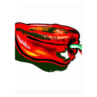 Scribbled red pepper postcard