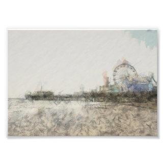 Scribbled Santa Monica Pier Photo Print