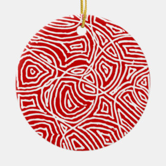Scribbleprint Circle Ceramic Ornament