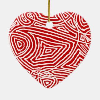 Scribbleprint Heart Ceramic Ornament