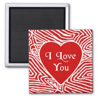 Scribbleprint I Love You Heart 2 Inch Square Magnet