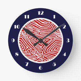 Scribbleprint Red Round Clock