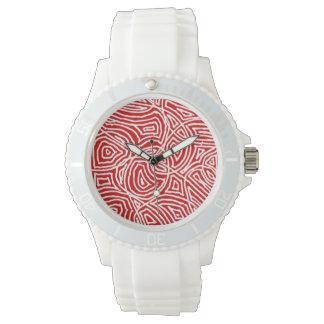 Scribbleprint rojo relojes de pulsera