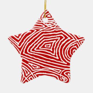 Scribbleprint Star (One Sided) Ceramic Ornament