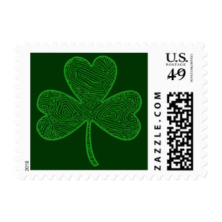 Scribbleprints Shamrock - On Green Postage