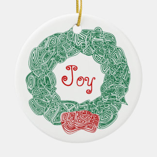Scribbleprints Wreath - White, on Red Ceramic Ornament