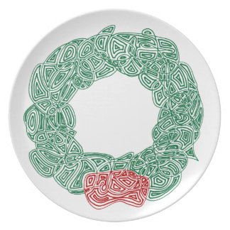 Scribbleprints Wreath - White, on Red Melamine Plate
